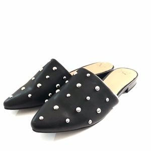 A NEW DAY SILVER STUDDED BLACK SLIDE MULE FLAT 7.5